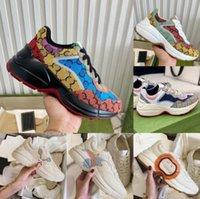 Zapatos de diseñador Rhyton Sneakers Beige Hombres entrenadores Vintage Chaussure Chaussures Ladies Shoe Designers Sneaker con el tamaño de la caja 35-46