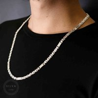 Necklaces Silva Original 925 Sterling Silver 6mm Euro King Chain Necklace for Men S925 Fashion Jewelry Mens Chains