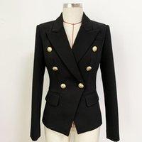 Klasik Stil En Kaliteli Orijinal Tasarım kadın Blazer Kruvaze Ince Ceket Metal Tokaları Suit Kumaş Ceket Siyah Beyaz