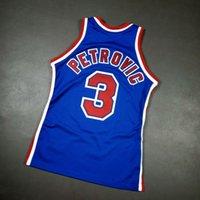 Vintage Drazen Petrovic Mitchell Ness Jersey Personaliza cualquier nombre y dígito Blanco Blanco Costura Bordado Baloncesto Camisetas de baloncesto