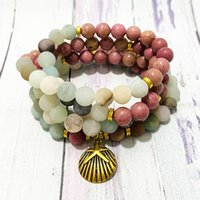 SN1540 Women`s Natutal Rhodonite 108 Mala Bracelet Matte Amazonite Shell Charm Yoga Mala Necklace Mala Bead Meditation Yoga Bracelet