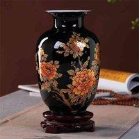 Chinesischer Stil Vase Jingdezhen Black Porzellan Kristall Glasur Blume Home Decor Handgemachte glänzende Famille Rose S 210610