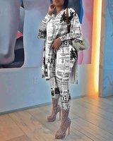 Women's Tracksuits Novo roupas femininas primavera impresso de jornal das mulheres topos e calas cintura alta casual terno 2 pea 3PT7