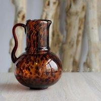 Vasen glas blume vase caramel bernstein leopard print ins floral dekoration ornamente helle luxus wohnzimmer explosion kessel