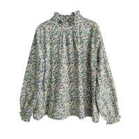 Johnature Kadınlar Baskı Çiçek T-Shirt Pamuk Tatlı Bahar 10 Renk Balıkçı Yaka Uzun Kollu Mori Kız Rahat T-Shirt 210618