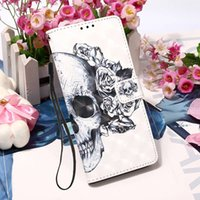 Skull Pattern Case For Apple iPhone 13 12mini 11 Pro XR XS Max7 8Plus 6 mobile phone shell PU leather case Wallet with stand handline