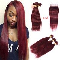 Brasileño 99J tejido del cabello humano 100% extensiones de cabello humano Seda barata Vino recto rojo 3 paquetes Extensiones de cabello Borgoña con cierre
