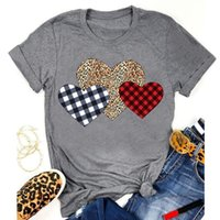 Women's T-Shirt 2021 Summer Womens T Shirt Valentine's Day Love Heart Plaid Short Sleeve Tops Blouse Tee Female Clothing Camicetta #Y10