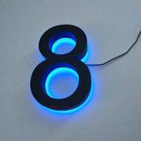 Custom Outdoor 3D Retroiluminado Acero inoxidable Iluminado El número El número de muestra Módulos LED