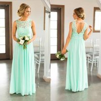 2021 Mint Green Lace Top Chiffon Skirt Country Bridesmaid Dresses Long Cheap Beach Backless Floor Length Wedding Party Gown