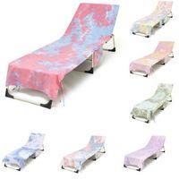Cubierta de silla de playa Tie-Dye con bolsillo lateral 75 * 215cm Secado rápido Salón Cubiertas de toallas Tumbonas Tumbonas Sun tomando el sol Jardín Absorción de agua libre DHL 496