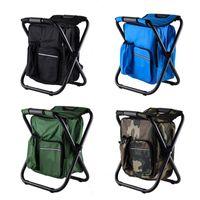Ao ar livre Dobrável Camping Cadeira de Pesca Banquinho Portátil Backpack Refrigerador Isolado Bolsa de Piquenique Caminhada Assento Mesa Pesca Acessórios