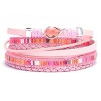 Tennis 2021 Fashion Geometric Multilayer Leather Bracelet Women Bohomia Boho Wrap For Jewelry Bijoux Gift Her NM-19
