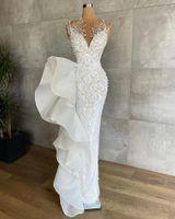 Other Wedding Dresses Luxury Pearls Mermaid Lace Beading Sheer Jewel Neck Modest Bridal Dress Floor Length Vestido De Noiva