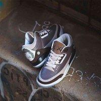 KAWS X 3S Erkekler Basketbol Ayakkabıları Jumpman 3 Kahverengi Beyaz Eğitmenler Spor Sneakers Beden ABD 7-13