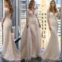 2021 Said Mhamad Champagne Mermaid Wedding Dresses Bride Gown Deeep V Neck Long Sleeves Lace Appliques Bridal Gowns Plus Size Overskirts Detachable Train Trumpet