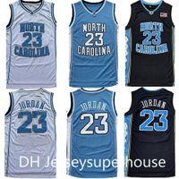 남자 NCAA 노스 캐롤라이나 타르 힐 23 마이클 저지 UNC 대학 농구 유니폼 블랙 화이트 블루 셔츠