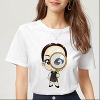 Bayan Tops Yaz Kısa Kollu T Gömlek Kadın Kişilik Moda Kadın Baskı Harajuku İnce Bölüm Tişört Femme Giyim