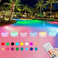 Luces de noche 4pcs 13 LEDs RGB remoto RGB Luz sumergible 16 colores para estanque al aire libre Fuente Fuente Jarrón Jardín Piscina bajo 2P