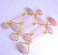 All'ingrosso di alta qualità naturale giada faccia a rulli massaggiatore rosa naturale massaggio facciale