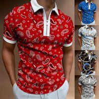 Мужские футболки рубашки для мужчин Paisley Print с коротким рукавом TShirts Streetwear Мужская одежда Элегантная графика T Отключить воротник рубашки