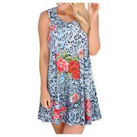 Casual Dresses Woman O-Neck Summer Sleeveless Flower Print With Pockets Beach A-line Mini Dress Elegance Tunics Sundresses Women