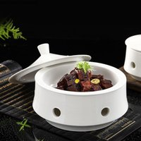 Dishes & Plates White Round Tableware Ceramic Dinner Plate Heating Insulation Tray Decorated Fruit Salad Bowl Home And Sets