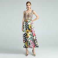 Vingate Yaz Şifon Kontrast Renk Elbiseleri Baskı Büyük Kolye Boncuklu Halter Sling Beach Tatil Elbise
