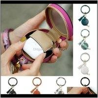 Rings Jewelrywireless Bluetooth Key Ring Pu Leather Protective Case Er Keychain Bracelet Tassel Purse Circle Keyring Makeup Mirror Kimter-B3