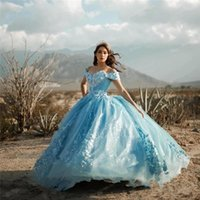 2021 Light Sky Blue Quinceanera Dresses 3D Floral Flowers Ball Gown Off Shoulder Crystal Beads Corset Back Floor Length Sweet 16 Plus Size Party Prom Evening Gowns