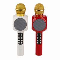 Top quality WS-1816 WS1816 Bluetooth Microphone LED Light Portable Handheld Wireless KTV Karaoke Player Loudspeaker KTV With Speaker Mic for phones DHL