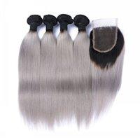9A Malásia 1B / Cinza Cabelo Weave 4 pacotes com fecho de renda prata cinza ombre extensões de cabelo humano com fecho 1b cinzento seda em linha reta