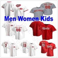 2020 새로운 사용자 정의 남성 여성 키즈 청소년 7 Eugenio Suarez 19 조이 벳토 조니 벤치 루이스 카스티요 트레버 바우어 스티치 야구 유니폼