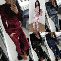 Pants Casual 2pcs Fitness Set Tracksuit Women Long Sleeve Sweatshirts+Eleastic Womens Tracksuits Velvet