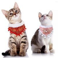 Dog Collars & Leashes T Cross-Border Export Pet Collar Retro Buckle Scarf Cat Bib Christmas Ornaments