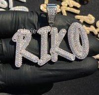 14k пользовательские названия recusive буквы кулон ожерелье двойной слой камни золотые серебряные розовыйold 3 цветов кубического циркония ювелирные изделия