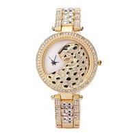 Мода и роскошные кварцевые женские часы Леопардовый принт Полный бриллиант Womens Часы оптом