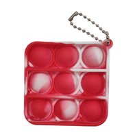 Party Favor Tie Dyed Design Mini Push Bubble Keychain Finger Toys Simple Dimple Key Ring Pop it Fidget Toy for Kids Adults