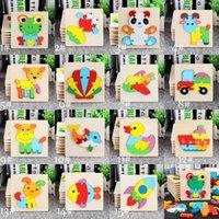 18 estilo bebé rompecabezas 3d rompecabezas juguetes de madera para niños dibujos animados animal tráfico rompecabezas inteligencia niños temprano educación educativa juguete C3