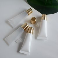 Großhandel PE Kosmetik 10ml 15ml Lip Gloss Röhre, Squeeze Mini Flaschen Kunststoff Weiß Klare Röhrchen Verpackung mit Golden Cap Essential Oil Balm Bulk Private Label