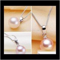 Оптом MS 89 мм белый розовый фиолетовый 3 цвет круглый натуральное жемчужное ожерелье 925 серебро DZ051116Z IV0VX ожерелья G0HLZ