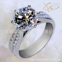 크로스 미러 클래식 클래식 6 발톱 플래티넘 도금 여성 슈퍼 소나 다이아몬드 반지 럭셔리 쥬얼리