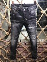21ss Mens jeans designer Ripped Skinny Trousers Motorcycle Moto biker hole Slim Men's Fashion Brand Distressed ture Denim pants Hip hop Men D2 9185