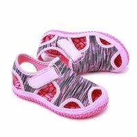 Sandals 2021 Children's Sold Color Boys Girls Close Toe Summer Beach Soft Canvas No-Slip Kids Sandal