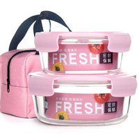 Dinnerware Sets Fresh-keeping Box 2 Piece Set Free Package Glass Bowl Microwave Oven High Temperature Resistant Lunch