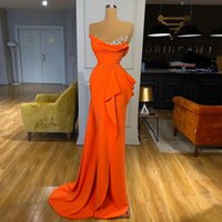 Orange Satin Evening Dresses 2021 Crystals Pleated Long Formal Prom Gowns Mermaid Sweep Train Cocktail Party Dress
