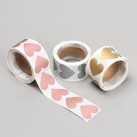 Rotolo 300pcs Round / Heart Scratch Off adesivi 1 pollice Etichette Adesivo per attività Attività Party Favors Gomme di articoli di cancelleria involucro regalo