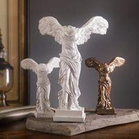 Retro Home Decoração Resina Estátua Caráter Arte Estátua Europeia Decoração Artesanato Victory Sketch Armário Home Office Criativo 210326