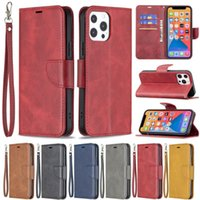 BF Retro PU Leather Wallet Credit Card Slot Cases With Wrist Free Strap For iPhone 13 12 Mini 11 Pro XR XS Max X 8 Samsung S8 S9 S10 Plus S20 FE S21 Ultra Note 10 20