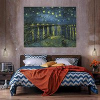 Sternenklare Nacht über dem Rhone Riesiges Ölgemälde auf Leinwand Wohnkultur Handkräfte / HD Print Wandkunstbilder Anpassung ist akzeptabel 21051128